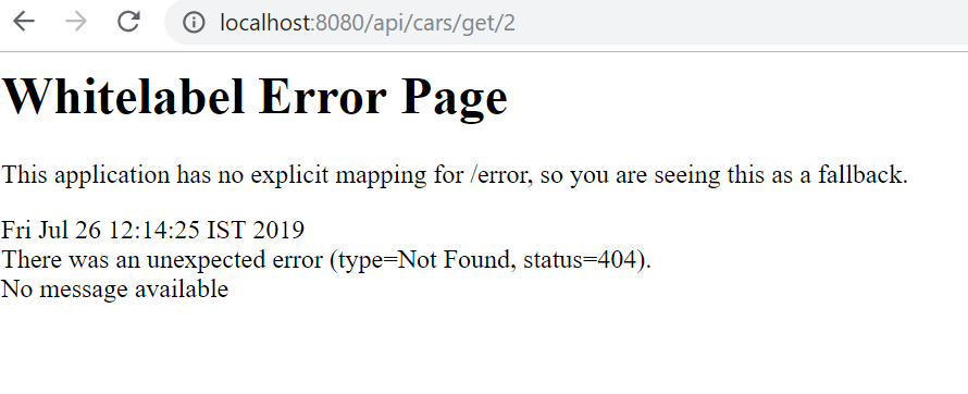 REST API's error - 404